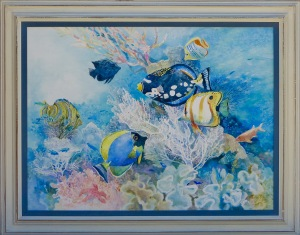 Alison's Reef II, original watercolor painted in 1998, framed under glass. 30x40