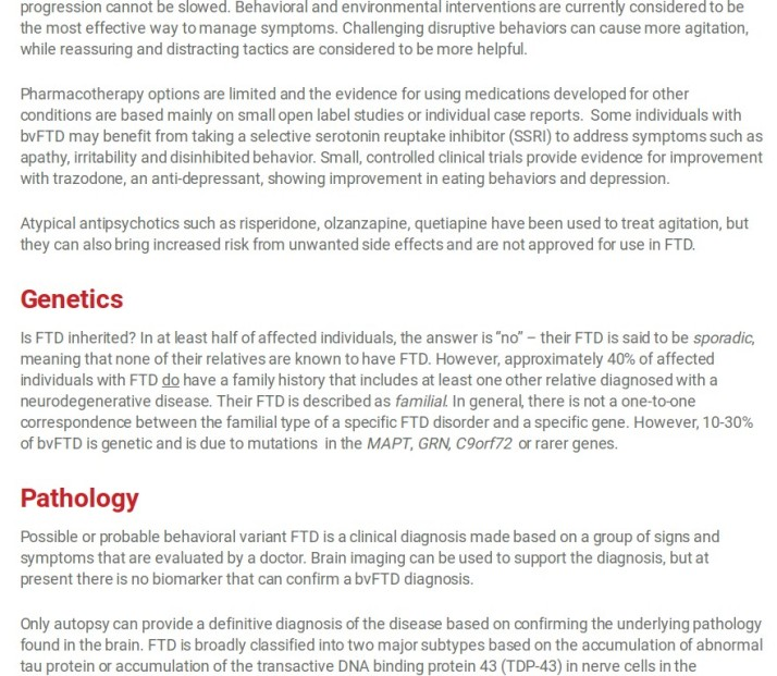FTD Genetics Pathology